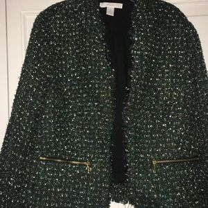 Chico's green with gold tweed blazer 1